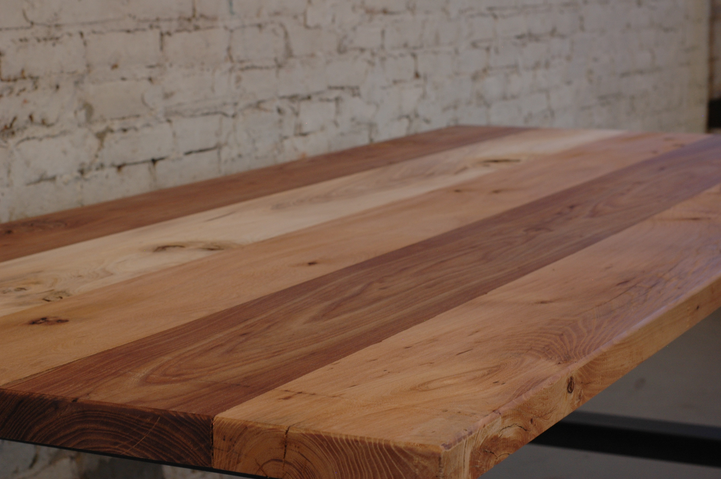 Reclaimed elm conference table mile moss design