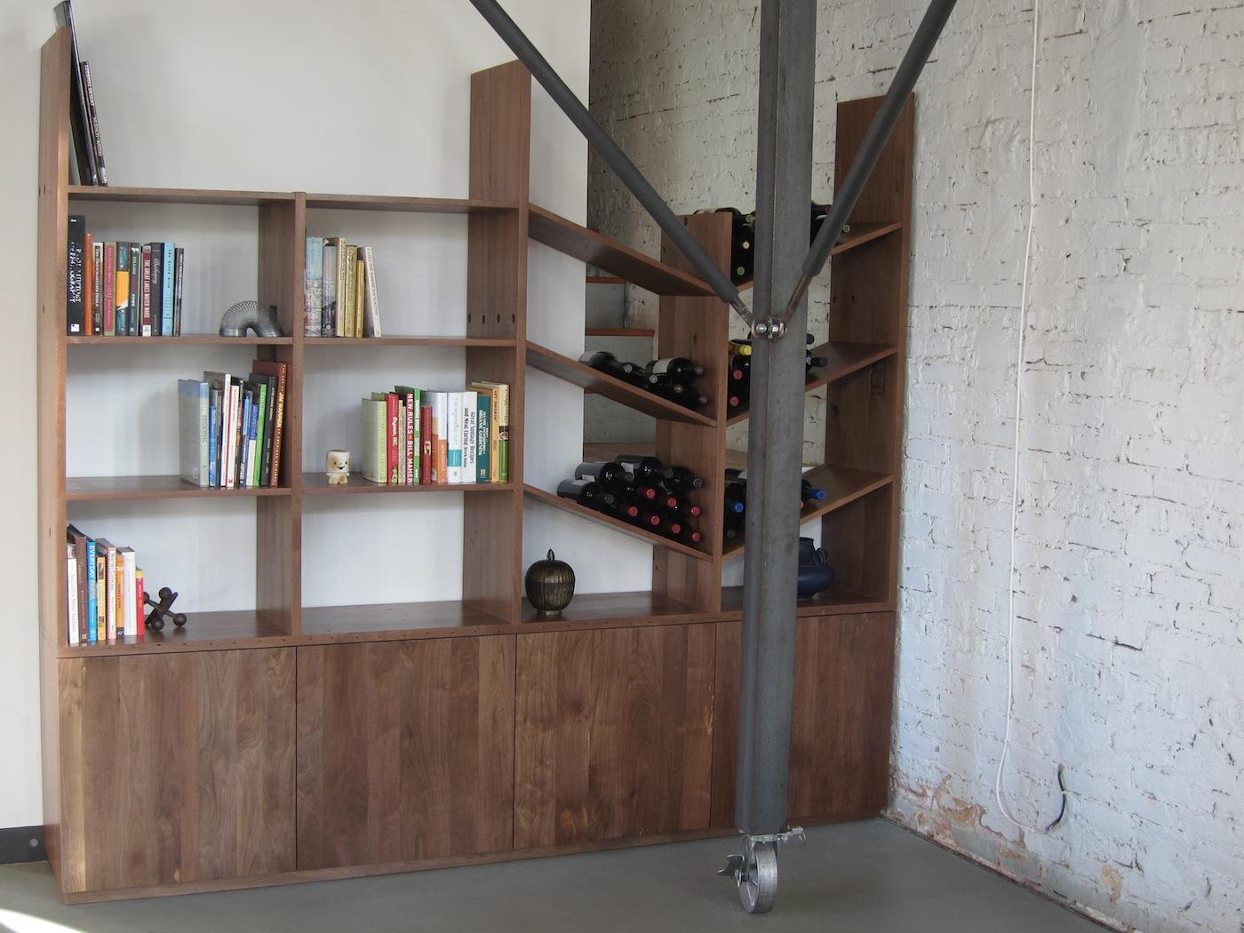 Reclaimed Book Wine Shelf Moss Architecture